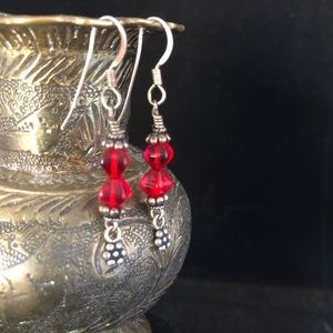 Red Drop Earrings on Sterling Silver Wires